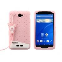 Силиконовый антиударный дизайнерский фигурный чехо для Sony Xperia E4 Розовый