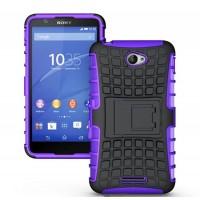 Антиударный пластиковый чехол экстрим защита с подставкой для Sony Xperia E4 Фиолетовый