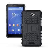 Антиударный пластиковый чехол экстрим защита с подставкой для Sony Xperia E4 Черный