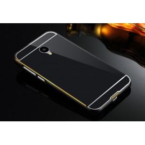 Двухкомпонентный чехол с металлическим бампером с золотой окантовкой и поликарбонатной накладкой для Meizu M2 Mini