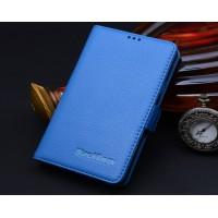 Кожаный чехол портмоне (нат. кожа) для BlackBerry Passport Silver Edition Голубой