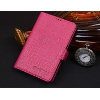 Кожаный чехол портмоне (нат. кожа крокодила) для BlackBerry Passport Silver Edition Розовый