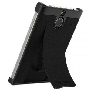 Оригинальный кожаный чехол накладка (нат. кожа) со встроенной подставкой для BlackBerry Passport Silver Edition