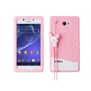 Силиконовый антиударный дизайнерский фигурный чехол для Sony Xperia M2 Aqua Розовый
