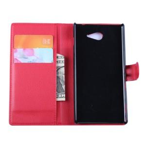 Кожаный чехол портмоне горизонтальная книжка с магнитной застежкой для Sony Xperia M2 Aqua Красный