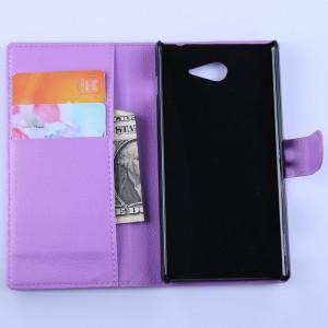 Кожаный чехол портмоне горизонтальная книжка с магнитной застежкой для Sony Xperia M2 Aqua Фиолетовый