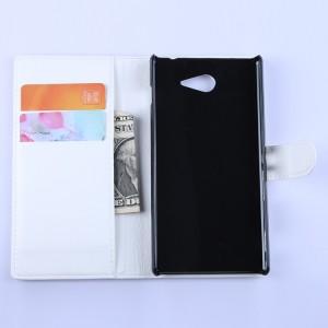 Кожаный чехол портмоне горизонтальная книжка с магнитной застежкой для Sony Xperia M2 Aqua Белый