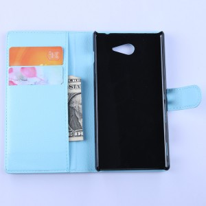 Кожаный чехол портмоне горизонтальная книжка с магнитной застежкой для Sony Xperia M2 Aqua
