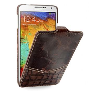 Эксклюзивный кожаный чехол вертикальная книжка (2 вида нат. кожи) для Samsung Galaxy Note 3