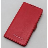 Кожаный чехол горизонтальная книжка (нат. кожа) для Lenovo P780 Красный