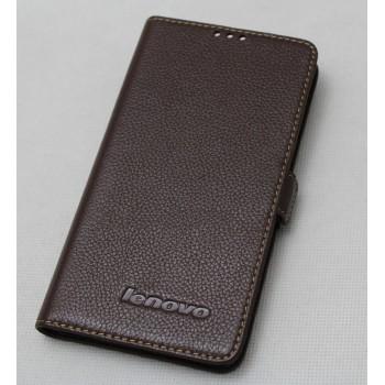Кожаный чехол горизонтальная книжка (нат. кожа) для Lenovo P780
