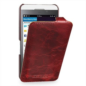 Эксклюзивный кожаный чехол вертикальная книжка (цельная телячья нат. вощеная кожа) для BlackBerry Z10