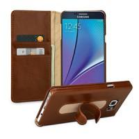 Кожаный чехол портмоне горизонтальная книжка подставка (нат. кожа) для Samsung Galaxy Note 5 Коричневый