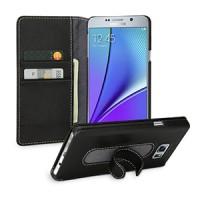 Кожаный чехол портмоне горизонтальная книжка подставка (нат. кожа) для Samsung Galaxy Note 5 Черный