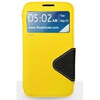 Чехол портмоне подставка с окном вызова и дизайнерской магнитной застежкой для Samsung Galaxy Note 5 Желтый