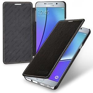 Кожаный чехол горизонтальная книжка (нат. кожа) для Samsung Galaxy Note 5 Черный