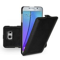Кожаный чехол вертикальная книжка (нат. кожа) для Samsung Galaxy Note 5 Черный