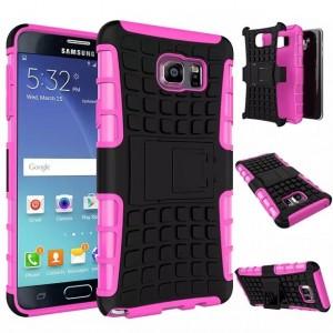Антиударный силиконовый чехол экстрим защита с подставкой для Samsung Galaxy Note 5 Розовый