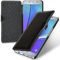 Кожаный чехол горизонтальная книжка (нат. кожа) с крепежной застёжкой для Samsung Galaxy Note 5 Черный