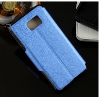 Текстурный чехол флип подставка с окном вызова и магнитной застежкой на силиконовой основе для Samsung Galaxy Note 5 Синий