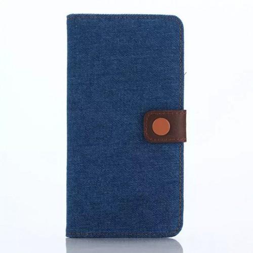Чехол портмоне подставка с крепежной застежкой и тканевым покрытием Джинса для Samsung Galaxy Note 5