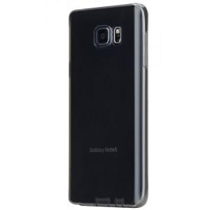 Силиконовый матовый полупрозрачный чехол повышенной ударостойкости для Samsung Galaxy Note 5 Черный