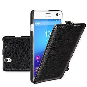 Кожаный чехол вертикальная книжка (нат. кожа) для Sony Xperia C4 Черный