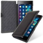 Кожаный чехол горизонтальная книжка (нат. кожа) с крепежной застежкой для Blackberry Leap