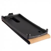 Чехол вертикальная книжка на пластиковой основе с защёлкой для LG Spirit Черный