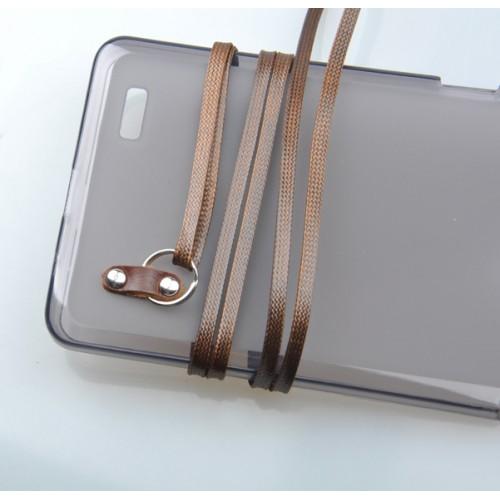 Силиконовый матовый полупрозрачный чехол с шнурком для Huawei Ascend Mate 7