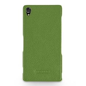 Кожаный чехол накладка (нат. кожа) для Sony Xperia Z3 Зеленый
