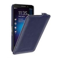 Кожаный чехол вертикальная книжка (нат. кожа) с защёлкой для Blackberry Z30 Синий
