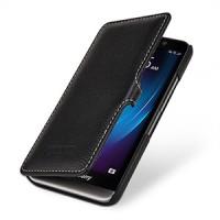 Кожаный чехол горизонтальная книжка (нат. кожа) с защёлкой для Blackberry Z30 Черный