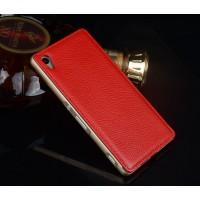 Двухкомпонентный чехол с металлическим бампером и кожаной накладкой для Sony Xperia Z3+ Красный