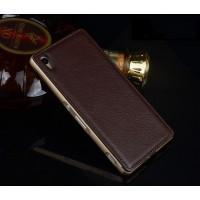 Двухкомпонентный чехол с металлическим бампером и кожаной накладкой для Sony Xperia Z3+ Коричневый