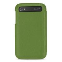 Кожаный чехол горизонтальная книжка (нат. кожа) для Blackberry Classic Зеленый