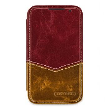 Кожаный чехол горизонтальная  книжка (2 вида нат. кожи) ручной работы с застежкой для Blackberry Classic
