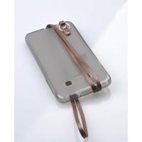 Силиконовый матовый полупрозрачный чехол с шнурком для Samsung Galaxy A5 Коричневый