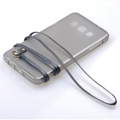 Силиконовый матовый полупрозрачный чехол с шнурком для Samsung Galaxy A5