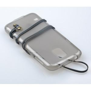 Силиконовый матовый полупрозрачный чехол с шнурком для Samsung Galaxy S5 (Duos)