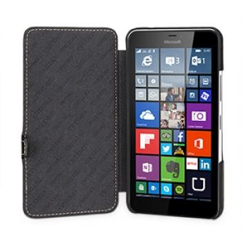 Кожаный чехол горизонтальная книжка (нат. кожа) с крепежной застежкой для Microsoft Lumia 640 XL
