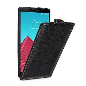 Кожаный чехол вертикальная книжка (нат. кожа) с защёлкой для LG G4 Черный