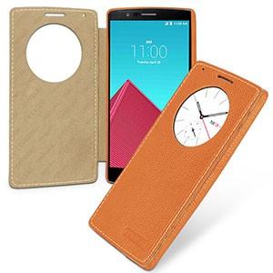 Кожаный смарт чехол горизонтальная книжка (нат.кожа) с круглым окном вызова для LG G4 Оранжевый