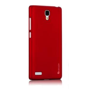 Пластиковый матовый металлик чехол для Xiaomi RedMi Note Красный