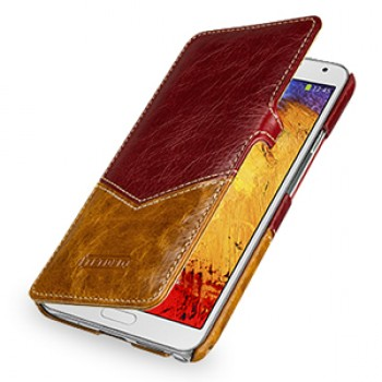 Кожаный чехол горизонтальная книжка (2 вида нат. кожи) с крепежной застежкой для Samsung Galaxy Note 3