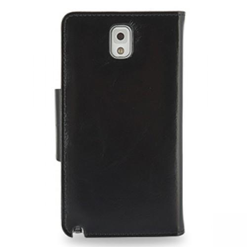 Кожаный чехол портмоне (нат. вощеная кожа) с магнитной крепежной застежкой для Samsung Galaxy Note 3