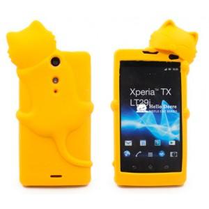 Силиконовый дизайнерский фигурный чехол для Sony Xperia TX Желтый
