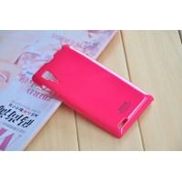 Пластиковый чехол с мягким глянцевым силиконовым покрытием для Lenovo P780 Красный