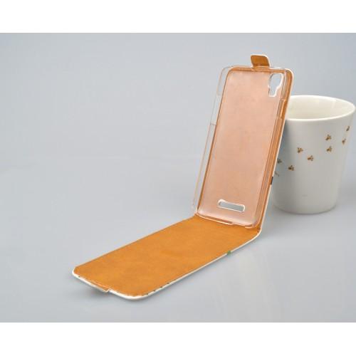 Чехол вертикальная книжка на пластиковой основе с полноповерхностным принтом и магнитной застежкой для Fly IQ4414 Evo Tech 3 Quad