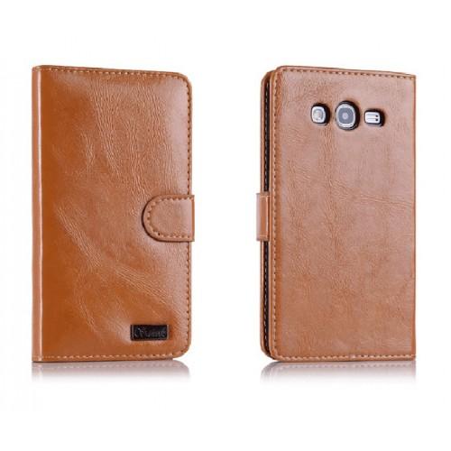 Вощеный чехол портмоне с защелкой для Samsung Galaxy Grand